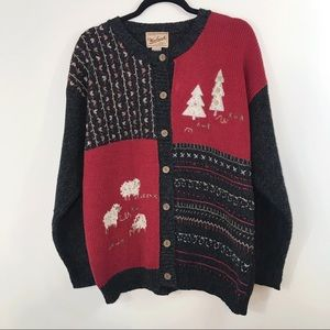 Woolrich Vintage Christmas Sheep Cardigan Sweater